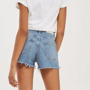 Topshop Moto Mom Raw Hem High Rise Jean Shorts